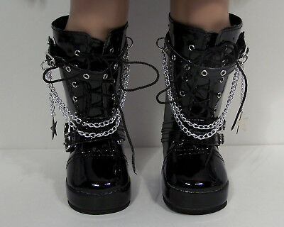 Black Patent Boots For Girls (BLACK Patent Tall Chain Boots Doll Shoes For 18
