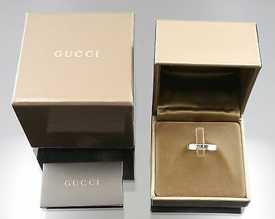 Authentic GUCCI Italic Icon 2P Daimonds Ring 18K White Gold US:7 #j30073