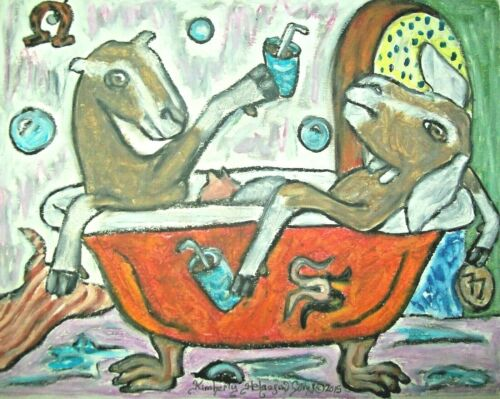 Recorded Grade drinking Rum Art Print 8 x 10 Signed by KSAMS Goat Collectible