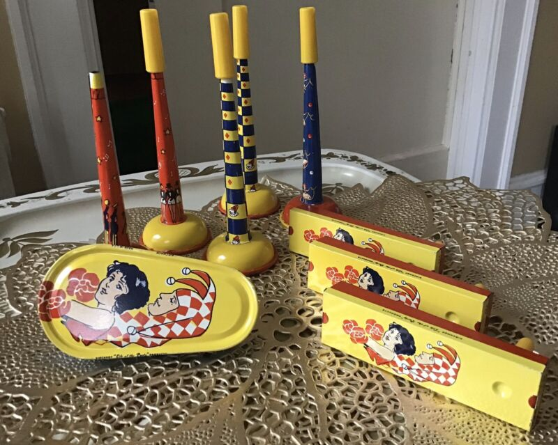 """VINTAGE Collection Of 9 KIRCHHOF  """"LIFE OF THE PARTY"""" Tin Litho Noisemakers"""
