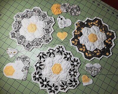 Vintage Flower Garden Quilted Blocks #2 ~ Lot of 3 + Appliques & Yo-Yos ~ FUN!