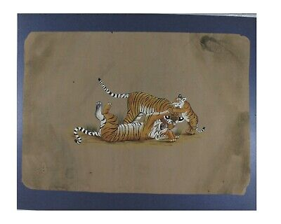 Handmade Paper Painting Tiger Fighting Scene Old Vintage Gift Home Décor Art