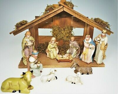 Nativity Christmas Porcelain Set Stable Creche Mary Joseph Baby Jesus Kings