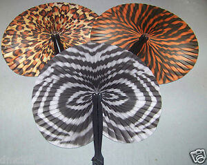 12 ZOO SAFARI Birthday Everyday Party Favors ANIMAL PRINT Paper Folding Fans