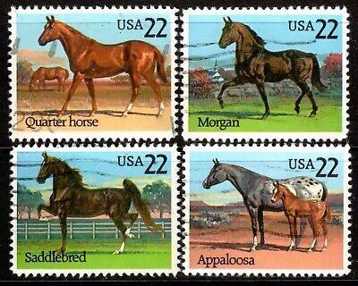 Sc# 2155-8 22 Cent HORSES (1985) Used Singles SCV $1.00  Read