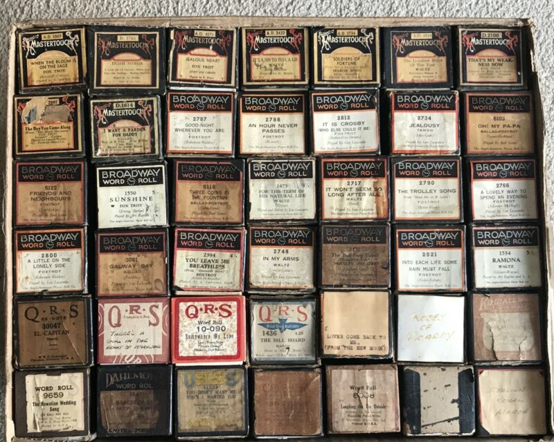 Vintage Player Piano Rolls Large Lot Of 42