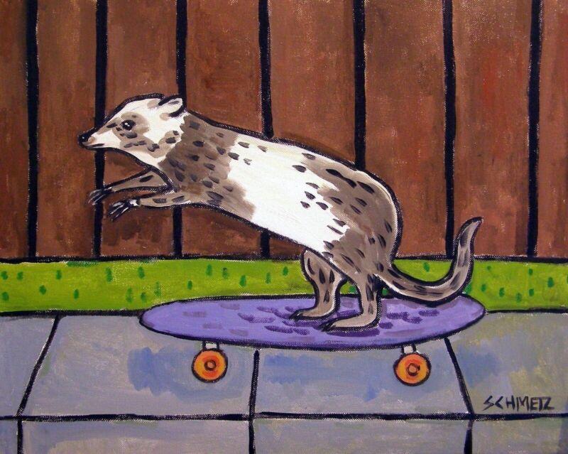 ferret art  poster gift modern folk skateboarding  13x19 GLOSSY PRINT