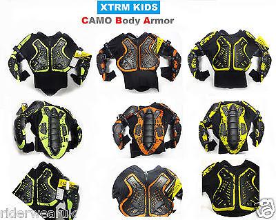 XTRM CAMO Bambini Motocross Pettorina Corazza Moto Off Road Armatura Quad Giacca