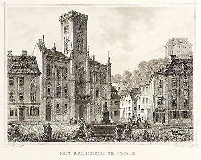 GREIZ - MARKTPLATZ MIT RATHAUS - Rohbock & Koehler - Stahlstich 1855