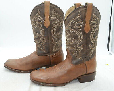 Crooked River Boot Co. USA Mens 28 Tan Leather Western Cowboy Riding Work -