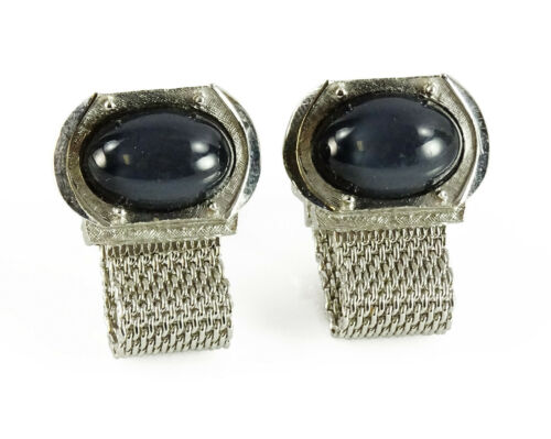 Swank Wrap Around Mesh Cufflinks Gray Grey Moonstone Vintage Cuff Links