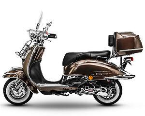 Retro Roller Mofa 25 KmH / Motorroller 45 KmH - 49 ccm Moped braun EASYCRUISER