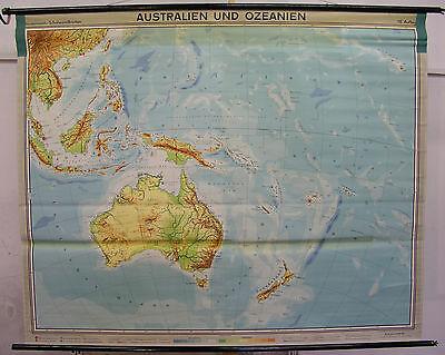 Schulwandkarte Wandkarte Karte Australien Neuseeland Südsee Pazifik 209x170 1958