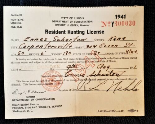 Vintage 1941, State of Illinois Hunting License