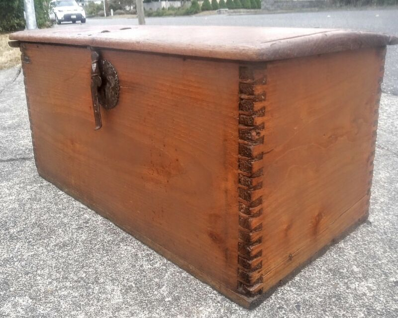 ANTIQUE 1800S MEXICAN COLONIAL CHEST TRUNK RANCHO MONTEREY CALIFORNIA WOOD IRON