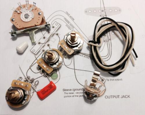 TAOT Stratocaster® Wiring Kit -  CTS 450G, Oak 5-way, .022 OD Cap - Strat