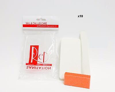 RED NAIL & CALLUS Care Professional Disposable Kit 3ct/pk file,buffer ~10 packs~