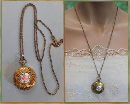 Vintage Guilloche Enamel Photo Locket Pendant  Pink Rose White Enamel Necklace