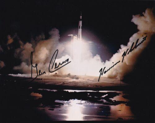 APOLLO 17- GENE CERNAN & HARRISON SCHMITT - SIGNED 8 x10 Launch PHOTO NASA W-LOA