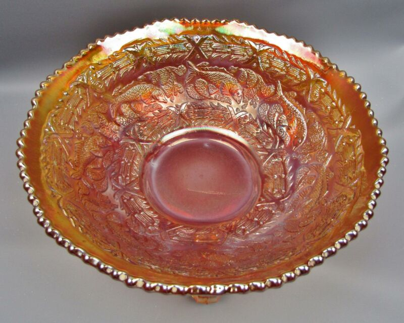 Fenton LITTLE FISHES Dark Marigold Carnival Glass Round Footed Bowl 7739