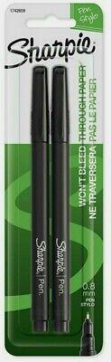 Sharpie Pen Black 2 Pk Fine Point No Bleed Watersmear Resist Non-toxic 1742659