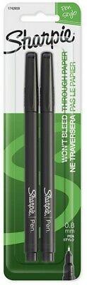 Sharpie Pen Stylo 1742659 Black 2pk Fine Point 0.8mm No Bleed Smear Resistant 29