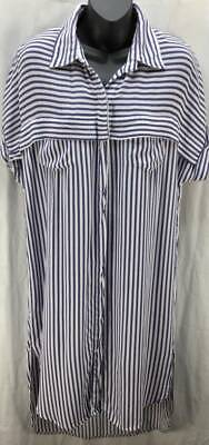 By Together Dress Medium Blue Stripe Button Down Collared Short Sleeve -
