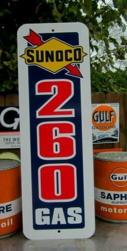 SUNOCO 260 GAS Vertical SIGN SERVICE STATION HIGH TEST MUSCLE CAR GASOLINE OIL