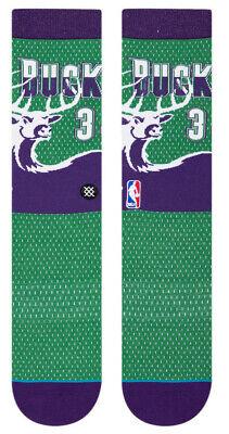 Ray Allen Milwaukee Bucks 1996 Stance NBA HWC Jersey Crew Socks Large Mens 9-12