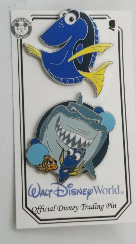 Disney Pins Park Attractions Mystery Finding Nemo, Bruce, Dory #11578 & #79372