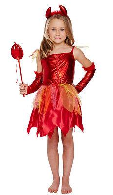 Mädchen-rot Fee Teufelskostüm Kostüm Zauberstab Halloween Outfit Neu Alter (Teufel Mädchen Outfit)