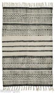 Teppich Vorleger 60 x 90 Ethno schwarz weiß Vintage Baumwolle handgewebt Nordal