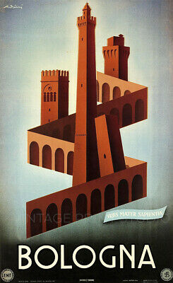Bologna Vintage Italian Travel Advertising Poster Giclee Canvas Print 20x33