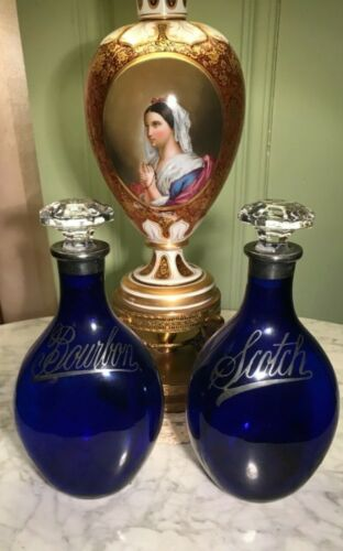 Pair-Antique Cobalt Blue Bohemian Glass Decanters-Sterling Overlay-Stunning