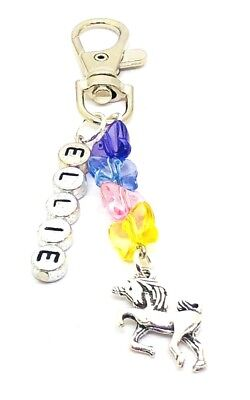 Mystical Unicorn butterfly charm Girly Gift Personalised Keyring Bag Charm