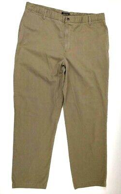 Dockers Men's Khaki 100% Cotton Flat Front Relaxed Fit Beige Pants  Size 40 x 32