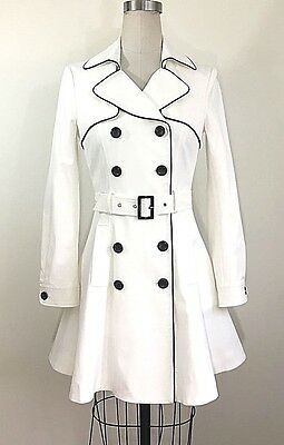 Bebe Black Piped Flared White Trench Coat (no belt) Size S $189
