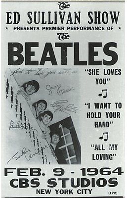 Music Poster Reprint The Beatles Ed Sullivan Show Feb 9th 1964