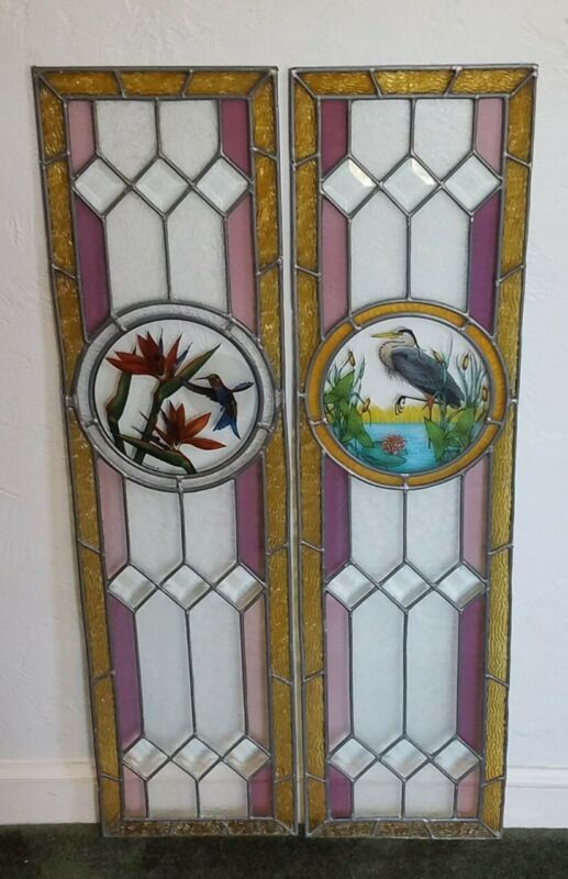 SET(2) VINTAGE STAINED LEADED BEVELED GLASS SIDELIGHT WINDOWS WITH BIRDS