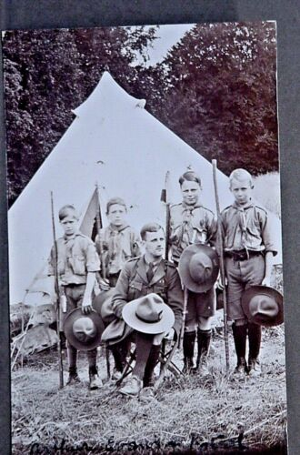 """UK Boy Scouts Real Photo Postcard """"Arthur"""" and his Patrol""""  FREE SHIPPING"""