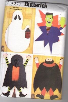 Butterick 3277 NoSew Halloween Door Decorations ghost witch vampire Frankenstein](Halloween Door Decorations Crafts)