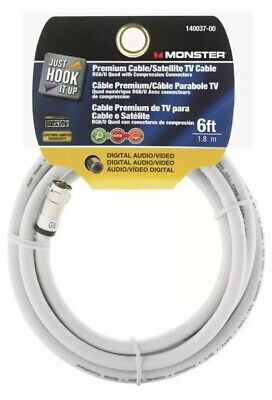 Premium Cable/Satellite TV Cable White 6 Ft Digital Audio/ Video Monster Cable Satellite Tv