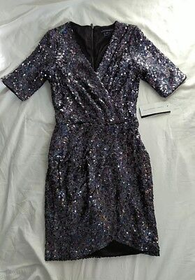 French Connection Sequin Faux Wrap Dress Womens 2 Metallic New Year Party NYE Metallic Faux Sequins