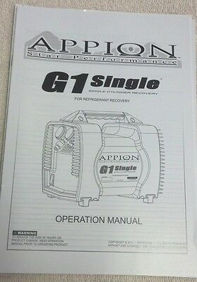 Appion G1 Single Performance Refrigerant Recovery Original Owners Manual
