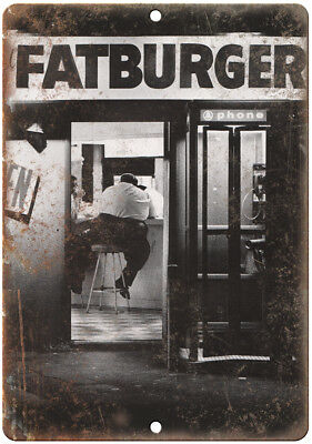 Vintage Fatburger Man At Counter 10  X 7  Reproduction Metal Sign N07
