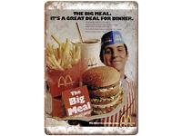 """McDonald/'s Big Mac Coke Vintage Ad 10/"""" X 7/"""" Reproduction Metal Sign N161"""