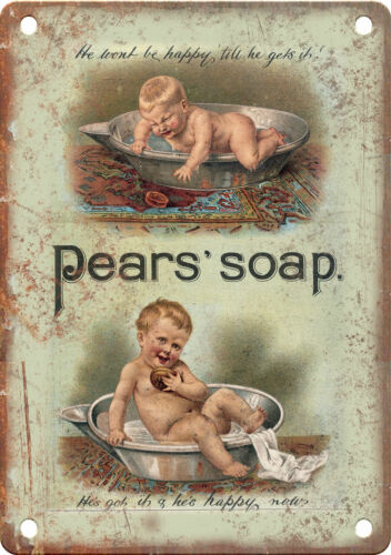 """Pears Soap Vintage Ad 10"""" X 7"""" Reproduction Metal Sign ZF161"""