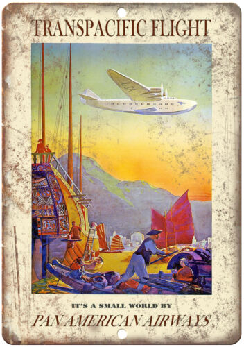"""Transpacific Flight Vintage Travel Ad 10"""" x 7"""" Reproduction Metal Sign T109"""