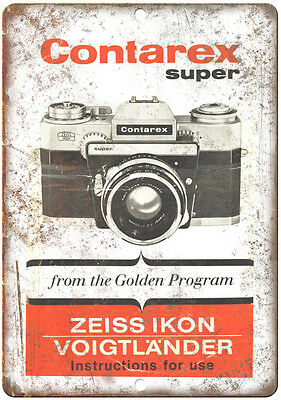 "Contarex Super Zeiss Ikon 35 mm Film Camera 10"" x 7"" reproduction metal sign"