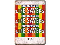 """Life Savers Five Flavor Wrapper Ad 10/"""" X 7/"""" Reproduction Metal Sign N419"""